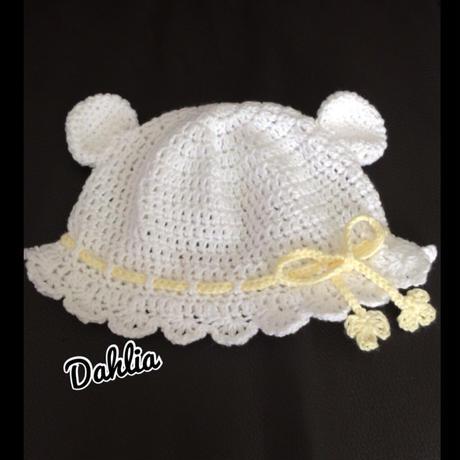 クマ耳ヒラヒラツバ付き帽子Sサイズ