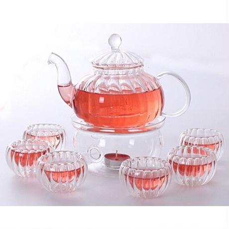 耐熱ガラス製 ティーカップセット コーヒーカップセット ガラスカップ 6客セット トレイ付き 冷茶 ハーブティー 夏 涼しげティーパーティーセット