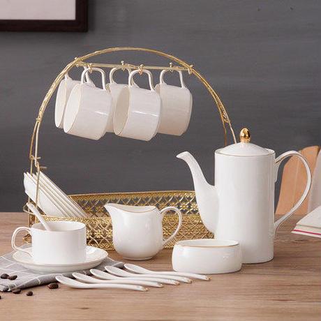 ティーカップセット コーヒーカップセット カップ&ソーサー6客セット ティーポット 上品ホワイト 陶磁器 ティーセット