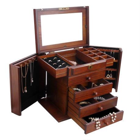 大容量 高級 木製 5段 ジュエリーボックス アンティーク ミラー付き ブラウン アクセサリーケース 宝石箱 小物入れ 茶色 ブラウン チェスト
