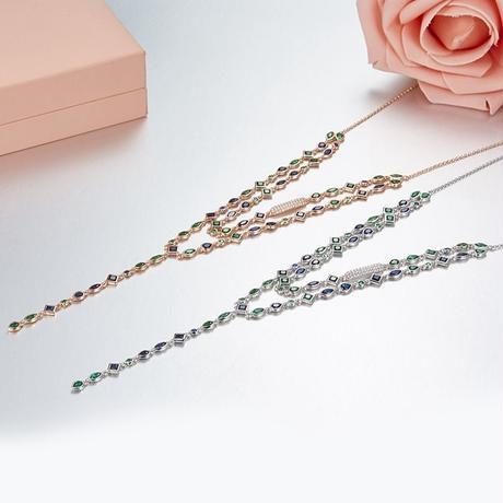 CZダイヤモンド デザインネックレス 925スターリングシルバー高級タイプ ラリエット風 サファイア&エメラルド風 / ブルガリ スワロフスキー お好きな方にも