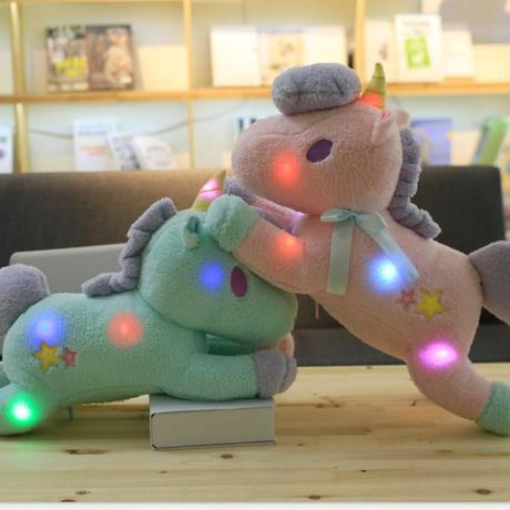 新品 ユニコーン 光るぬいぐるみ 55cm LEDライト内蔵クッション 抱き枕 かわいい子ども部屋 馬 人形 女の子 孫 おもちゃ プレゼント ピンク