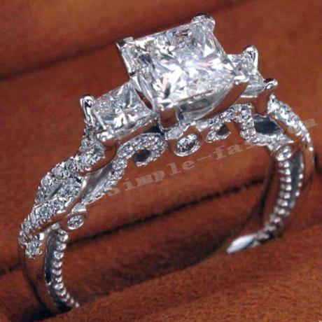 高級CZダイヤモンド 大粒スクエアカットジルコニア エンゲージリング  指輪 繊細 立体的 Silver925 シルバー 高級 キラキラ プレゼントにも 10号/12号/14号/16号/18号