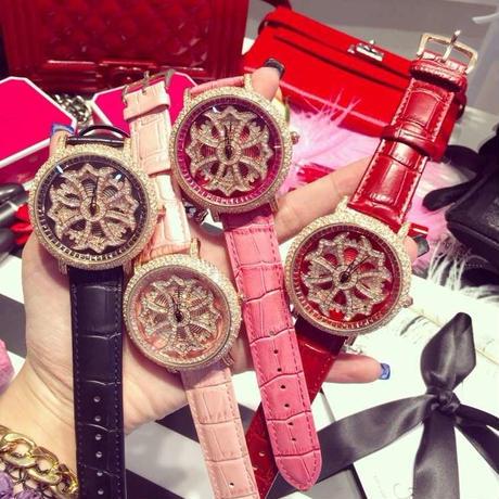 レディース腕時計 リストウォッチ 人気ブランド Mashali キラキラ ラインストーン 高級ドレスウォッチ くるくる ぐるぐる 回転文字盤 輝く上品ゴージャスファッションウォッチ