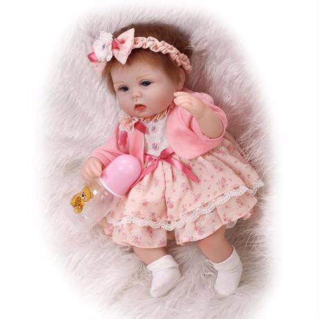 a5e960cd30ef8 ... リボーンドール リアル赤ちゃん人形 小さめ40cm かわいいベビー人形 ハンドメイド海外ドール 衣装とおしゃぶり ...