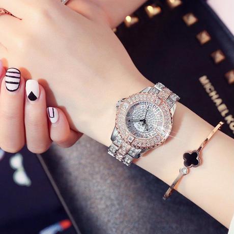 レディースウォッチ 海外人気ブランド MASHALI  全面ラインストーン腕時計 クリスタル パヴェ 派手めジュエリーウォッチ リストウォッチ ブレスウォッチ おしゃれ 大人気 ブレスレットつき
