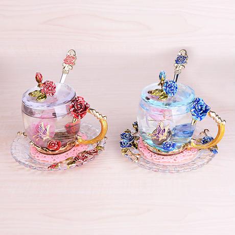 ガラス製ティーカップ 4点セット 薔薇 姫系 洋食器 コーヒーカップ ティーセット ゴージャス フェミニン