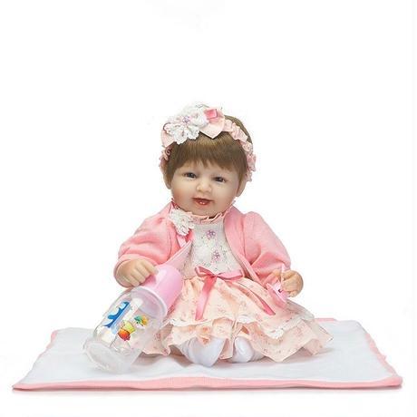 180318f9f1bc8 リボーンドール リアル赤ちゃん人形 小さめ40cm かわいいベビー人形 ハンドメイド海外ドール 衣装とおしゃぶり ...
