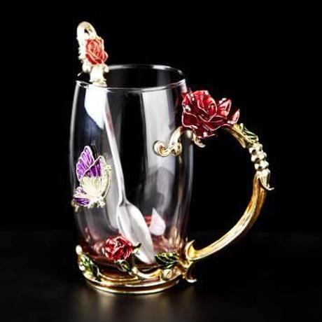 ガラス製 バラと蝶 高級ティーカップ&スプーン 2点セット コーヒーカップ 上品 フェミニン ゴージャス