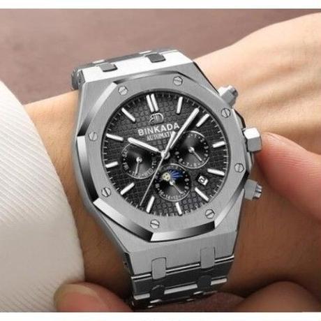 f14712909d BINKADA メンズ腕時計 機械式 ムーンフェイズ 海外輸入品 高級腕時計 ハイブランド