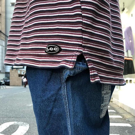 "USED ""90'S LEE"" HENLEY NECK STRIPED SHIRT"