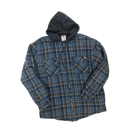 "USED ""DICKIES"" HOODED ZIP UP FRANNEL SHIRT"