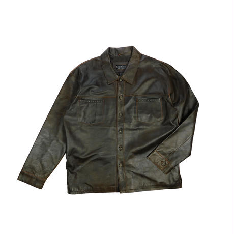 "USED ""GUESS CLASSIC"" LEATHER SHIRT JACKET"
