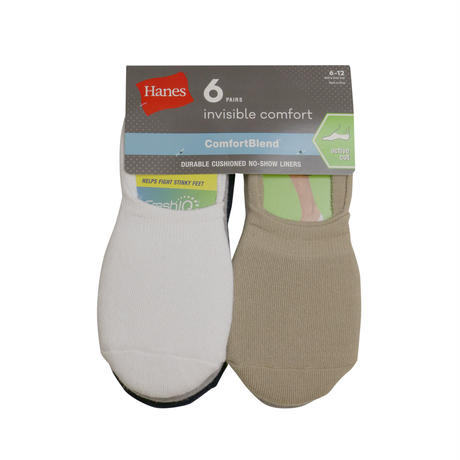 HANES 6PAIRS  INVISIBLE COMFORT SOCKS