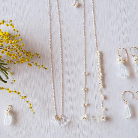 【14kgf】ムーンストーン+淡水パールのネックレス/Moonstone + Freshwater pearl necklace