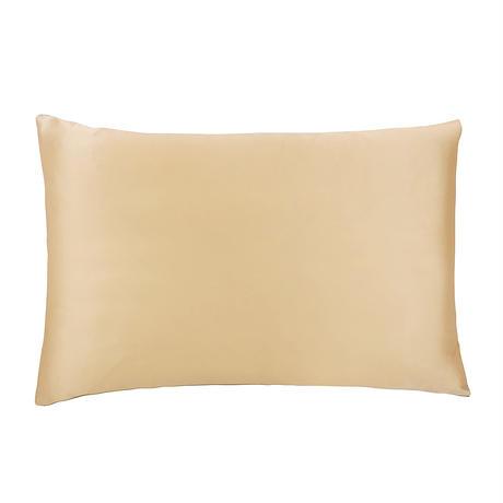 両面シルク枕カバー ブラウン×ゴールド