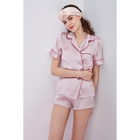 シルク半袖パジャマ上下セット ピンク