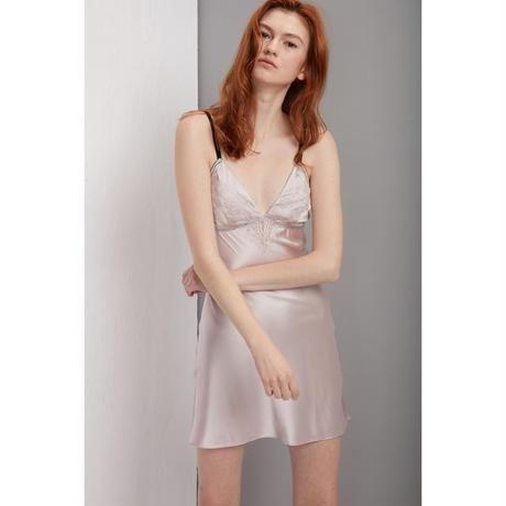 シルクスリップドレス(カップ付き)ピンク