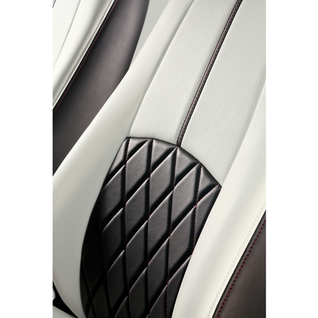 "Premium Fit Seat Cover for MAZDA CX-3 ""Black&White Leather × Red Stitch"""