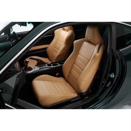 "Premium Fit Seat Cover for TOYOTA 86 / SUBARU BRZ ""Tan × Brown Stitch"""