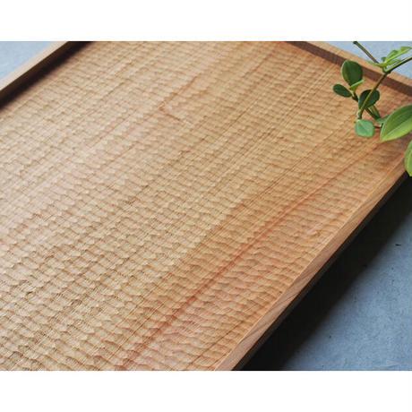 手彫りの角盆/山桜 380×290 svf-33