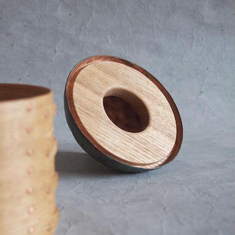 フナハシトモハル 曲げ木の木箱Φ93・蓋銅 FUNA-58