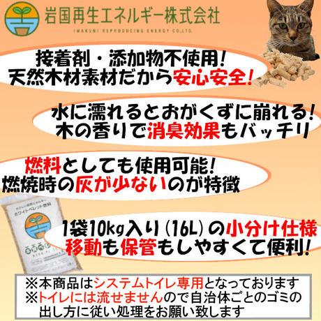 岩国再生エネルギー 猫砂 木質ペレット 10kg(16L)×2 システムトイレ用 崩れるタイプ