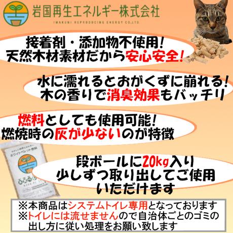 岩国再生エネルギー 猫砂 木質ペレット 20kg  (約33L) システムトイレ用 崩れるタイプ