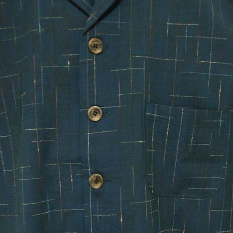 オリエンタル アロハシャツ  (男性Lサイズ半袖)濃紺地に赤黄青の細線