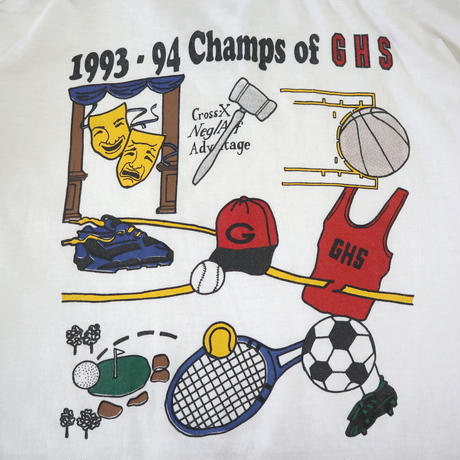 """~90's Fruit of the loom """"GHS"""" 両面 プリント ポケット Tシャツ XLサイズ USA製"""
