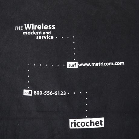 "80's~90's ONEITA ""metricom.com"" 両面 プリント Tシャツ Black Lサイズ"