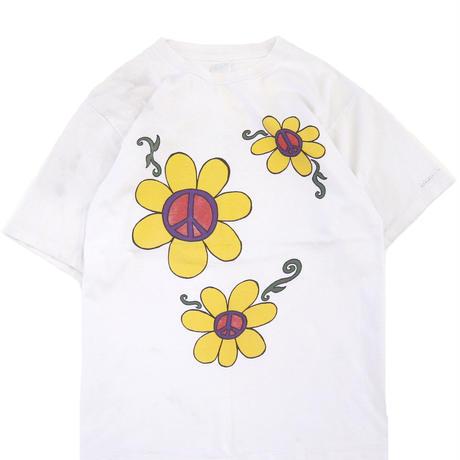 """80's~ Alore """"SUN FLOWER ☮"""" 両面 プリント Tシャツ XLサイズ USA製"""