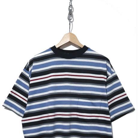 80's OLD STUSSY マルチボーダー ポケットTシャツ USA製