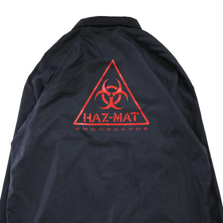 ~90's HAZ-MAT 両面 プリント ナイロン コーチ ジャケット Black USA製