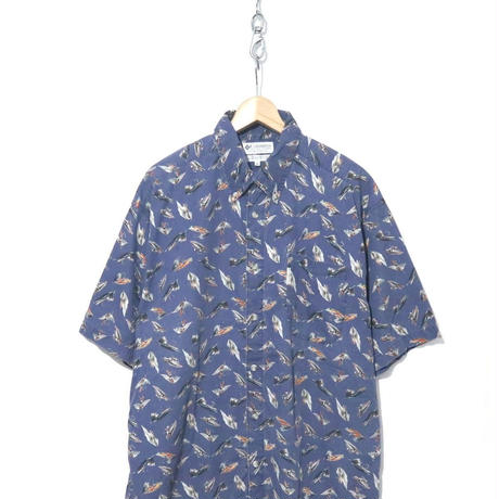 90's~00's Columbia ルアー柄 ボタンダウン S/S シャツ XLサイズ