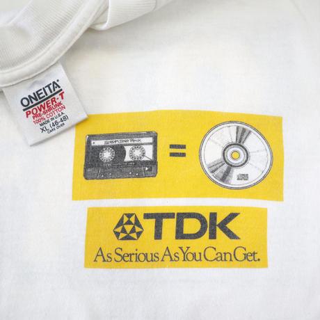 "80's~ ONEITA ""TDK"" 両面 プリント Tシャツ White XLサイズ USA製"