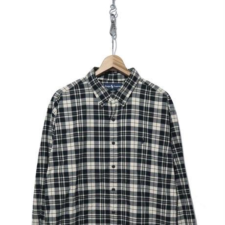 90's Ralph Lauren ボタンダウン 長袖チェックシャツ BLACK×BEIGE