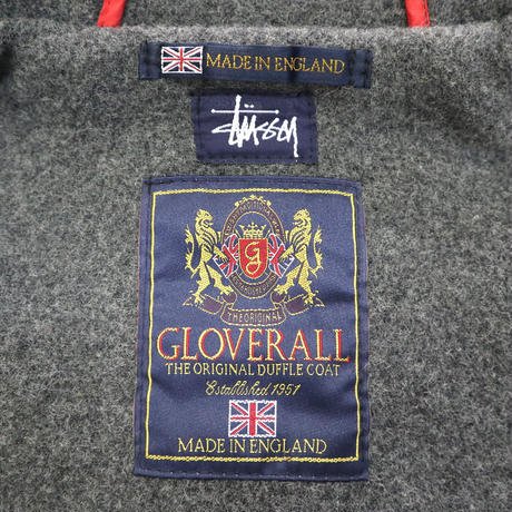 STUSSY×GLOVERALL Wool Duffle Coat GREY Mサイズ ENGLAND製