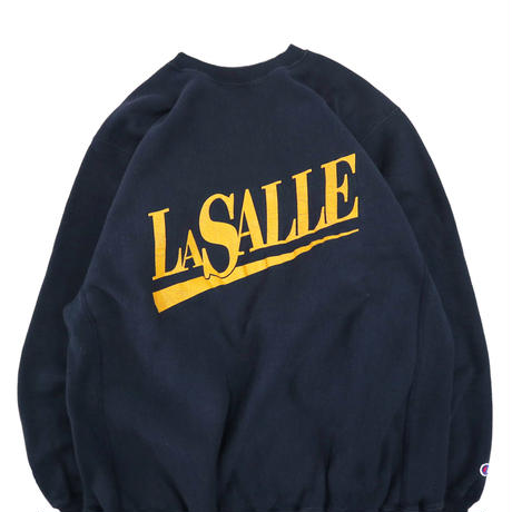 "90's CHAMPION RW SWEAT ""LA SALLE"" Navy×Yellow XLサイズ"