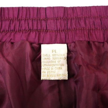 """""""Unisex"""" ~90's """"All SILK"""" PANTS Bordeaux Lサイズ"""