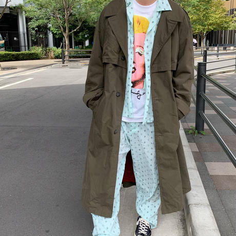 "90's ""SET UP"" コットン 総柄 パジャマ シャツ パンツ MINT×BLACK"