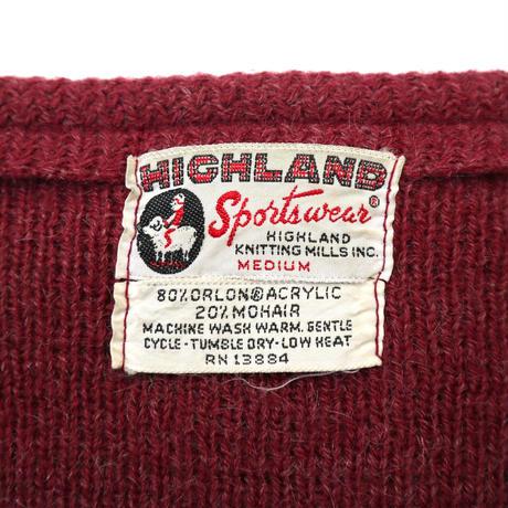 ~60's HIGHLAND モヘア ニット カーディガン Burgundy Mサイズ