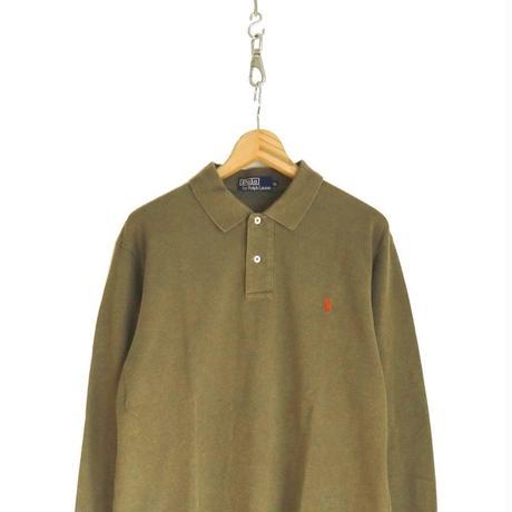 90's~  Polo Ralph Lauren 鹿の子 長袖 ポロシャツ OLIVE LLサイズ