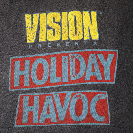 "80's VISION ""HOLIDAY HAVOC"" 両面プリント Tシャツ XL USA製"