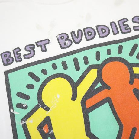 "80's~90's Hanes Keith Haring ""Best Buddies"" プリント Tシャツ Lサイズ"