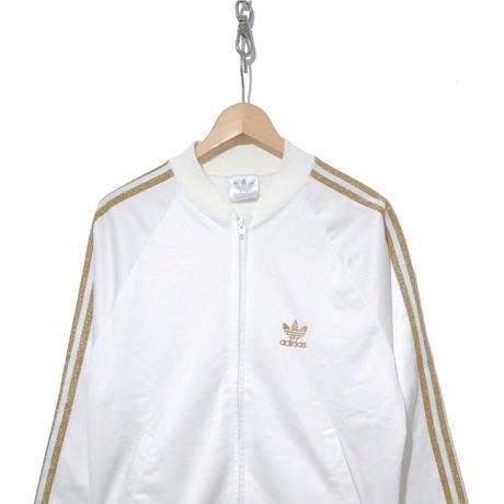 "80's Adidas ""ゴールドラメ"" トラック ジャージ WHITE×GOLD USA製"