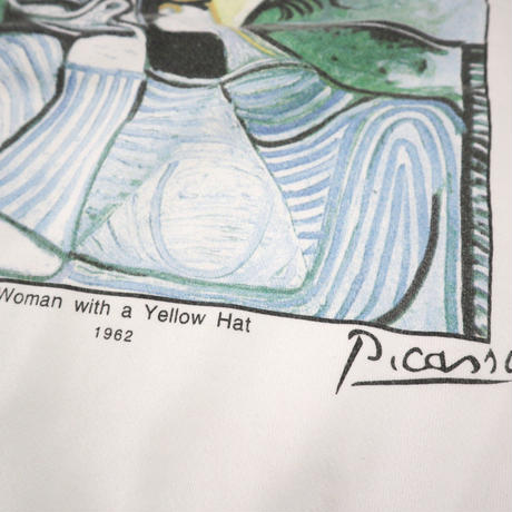 "90's Pablo Picasso ""Woman with a Yellow Hat"" スウェット Lサイズ USA製"