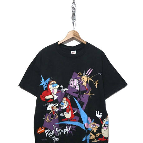 "90's ""Ren&Stimpy"" 両面 マルチプリント Tシャツ XLサイズ USA製"