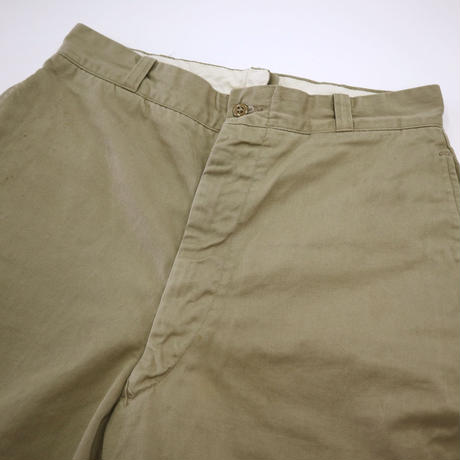 60's US ARMY Chino Trousers Cotton Khaki W32×L31
