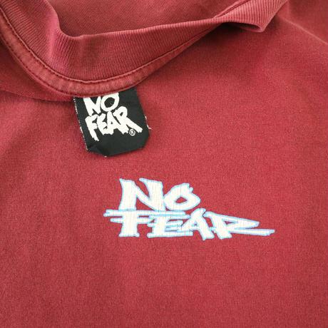 "90's~ NO FEAR ""EVERYTHING SUCKS"" 両面 プリントTシャツ Burgundy USA製"